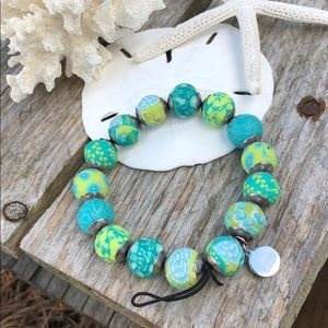 Jilzara Jewelry - Jilzara Mandala Blue & Green Bead Stretch Bracelet